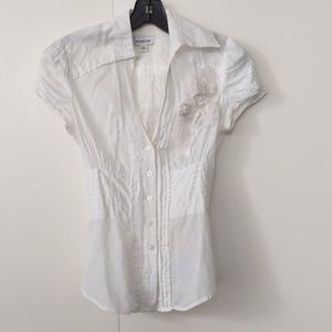 Bebe white cotton puff sleeves blouse